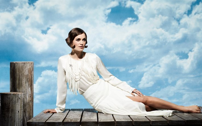 Keira Knightley, British actress, white dress, white clouds, blue sky