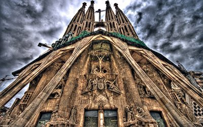 Sagrada Familia, temple, spanish attractions, Catalonia, HDR, Spain