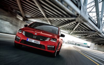 Skoda Octavia RS 245, 2018 cars, wagons, red Octavia RS, Skoda