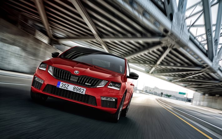 Skoda Octavia RS 245, 2018 voitures, wagons, rouge Octavia RS, Skoda