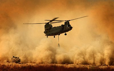 Boeing CH-47 Chinook, military transport helicopter, US Air Force, desert, assault helicopters, USA, Boeing