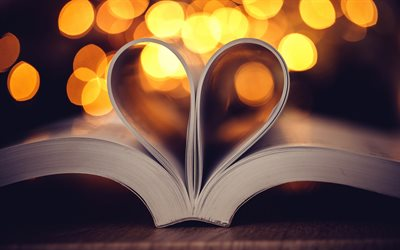 creative heart, pages of books, paper, love of reading, book