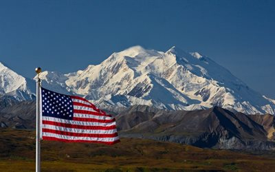 Flag of the United States, mountain landscape, American flag, July 4, national symbol, US flag