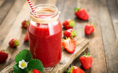 fraise smoothie, smoothie de fruits, fraise, rouge smoothie, de la nourriture saine, un smoothie