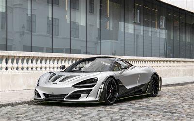 McLaren 720S Mansory, First Edition, front view, exterior, luxury hypercar, tuning 720S, silver 720S, British sports cars, McLaren, Mansory