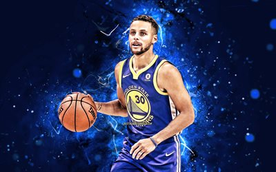 4k, Stephen Curry, 2020, NBA, Golden State Warriors, stelle di basket, Steph Curry, neon blu, Stephen Curry dei Golden State Warriors, basket, Stephen Curry 4K