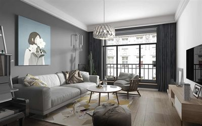 stylish gray living room interior, modern interior design, living room project, stylish interior design, gray color in the living room
