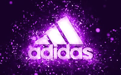 Adidas violet logo, 4k, violet neon lights, creative, violet abstract background, Adidas logo, brands, Adidas