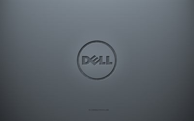Dell logo, gray creative background, Dell emblem, gray paper texture, Dell, gray background, Dell 3d logo