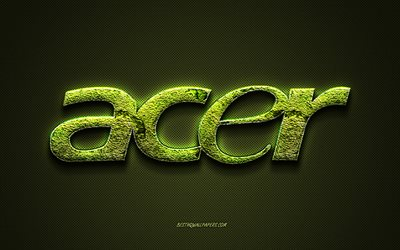 Acer logo, green background, Acer green floral logo, Acer emblem, Acer, creative grass art, Acer grass logo