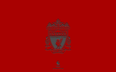 Liverpool FC, red background, English football team, Liverpool FC emblem, Premier League, England, football, Liverpool FC logo