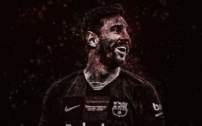 Lionel Messi, FC Barcelona, white glitter art, Argentine footballer, Leo Messi, black background, creative art, football