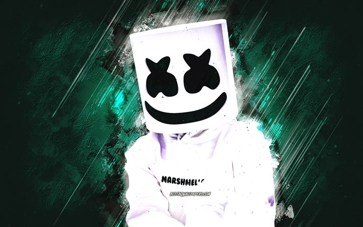 Marshmello, American DJ, Christopher Comstock, grunge art, Marshmello DJ, turquoise stone background, Marshmello art