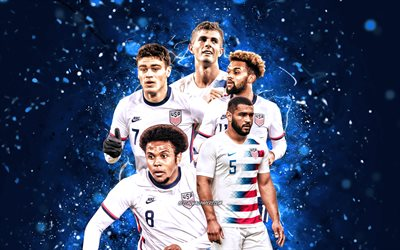 Cameron Carter-Vickers, Christian Pulisic, Weston McKennie, Konrad de la Fuente, Giovanni Reyna, 4k, US Mens National Soccer Team, soccer, footballers, blue neon lights, American soccer team, USMNT