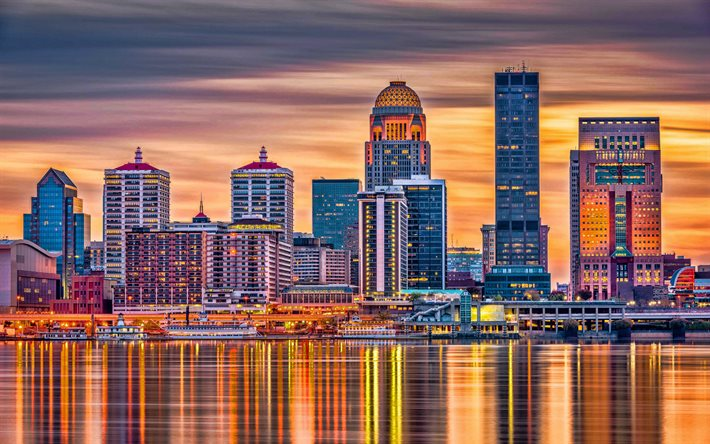 Louisville, sera, tramonto, grattacieli, National City Tower, 400 West Market, PNC Plaza, paesaggio urbano di Louisville, skyline di Louisville, Kentucky, USA