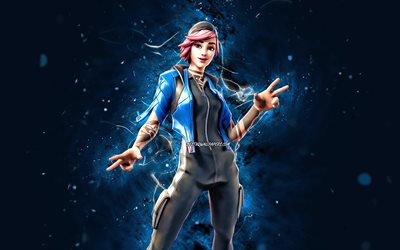 No Glow Nitebeam, 4k, néons bleus, Fortnite Battle Royale, Personnages Fortnite, No Glow Nitebeam Skin, Fortnite, No Glow Nitebeam Fortnite