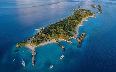 Jumeirah Vittaveli, Maldives, tropical islands, sunset, evening, summer travel, Maldives from above