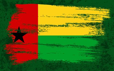 4k, Flag of Guinea-Bissau, grunge flags, African countries, national symbols, brush stroke, grunge art, Guinea-Bissau flag, Africa, Guinea-Bissau