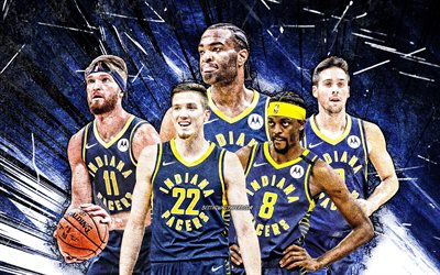 4k, Justin Holiday, TJ Leaf, Domantas Sabonis, TJ Warren, TJ McConnell, grunge art, Indiana Pacers, basketball, NBA, Indiana Pacers team, blue abstract rays, basketball stars