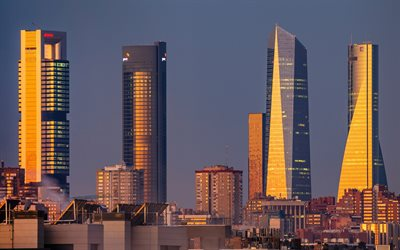 Madrid, skyscrapers, evening, sunset, Torre PwC, Torre Espacio, Torre Cepsa, Torre Picasso, modern buildings, Madrid cityscape, Madrid skyline, Spain