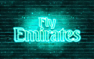 Emirates Airlines turquoise logo, 4k, turquoise brickwall, Emirates Airlines logo, airline, Emirates Airlines neon logo, Emirates Airlines, Fly Emirates