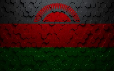 Flag of Malawi, honeycomb art, Malawi hexagons flag, Malawi, 3d hexagons art, Malawi flag