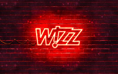 Wizz Air red logo, 4k, red brickwall, Wizz Air logo, airline, Wizz Air neon logo, Wizz Air