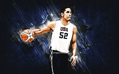 Malcolm Brogdon, USA national basketball team, USA, American basketball player, portrait, United States Basketball team, blue stone background