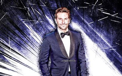 4k, Bradley Cooper, grunge art, american actor, movie stars, american celebrity, Bradley Charles Cooper, blue abstract rays, Bradley Cooper 4K