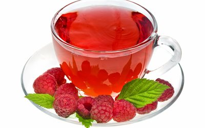 tea with raspberries, cup of tea, raspberries, berries tea, tea on white background, tea