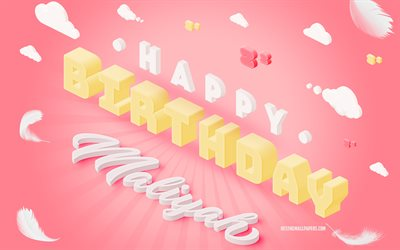 Happy Birthday Maliyah, 3d Art, Birthday 3d Background, Maliyah, Pink Background, Happy Maliyah birthday, 3d Letters, Maliyah Birthday, Creative Birthday Background
