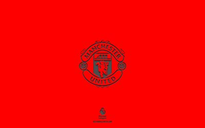 Manchester United FC, red background, English football team, Manchester United FC emblem, Premier League, England, football, Manchester United FC logo