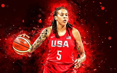 Seimone Augustus, 4k, USA Basketball Womens National Team, red neon lights, basketball, Seimone Delicia Augustus, Us womens national basketball team, creative, Seimone Augustus 4K
