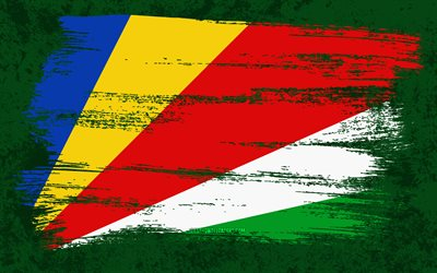 4k, Flag of Seychelles, grunge flags, African countries, national symbols, brush stroke, grunge art, Seychelles flag, Africa, Seychelles