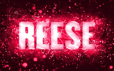 Happy Birthday Reese, 4k, pink neon lights, Reese name, creative, Hazel Happy Birthday, Reese Birthday, popular american female names, picture with Reese name, Reese