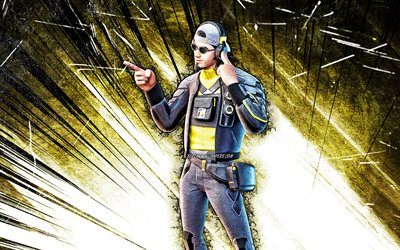 4k, Mouchard, grunge art, Fortnite Battle Royale, Fortnite characters, Mouchard Skin, yellow abstract rays, Fortnite, Mouchard Fortnite