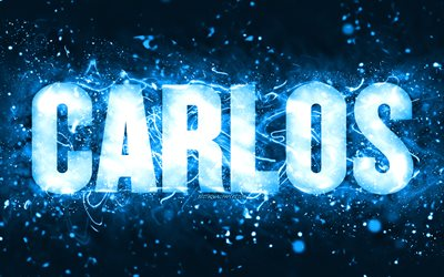 Happy Birthday Carlos, 4k, blue neon lights, Carlos name, creative, Carlos Happy Birthday, Carlos Birthday, popular american male names, picture with Carlos name, Carlos