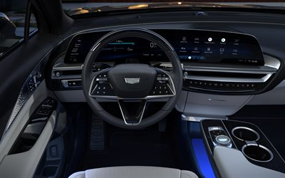 2023, Cadillac Lyriq, 4k, interior, view inside, dashboard, Lyriq 2023 interior, American cars, Cadillac
