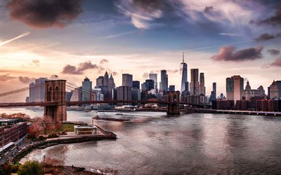 New York, Manhattan, World Trade Center 1, Ponte di Brooklyn, sera, tramonto, skyline di Manhattan, skyline di New York, Stati Uniti