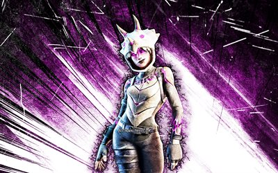4k, Dark Tricera Ops, grunge art, Fortnite Battle Royale, Fortnite characters, Dark Tricera Ops Skin, violet abstract rays, Fortnite, Dark Tricera Ops Fortnite