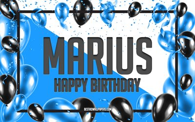 Happy Birthday Marius, Birthday Balloons Background, Marius, wallpapers with names, Marius Happy Birthday, Blue Balloons Birthday Background, Marius Birthday