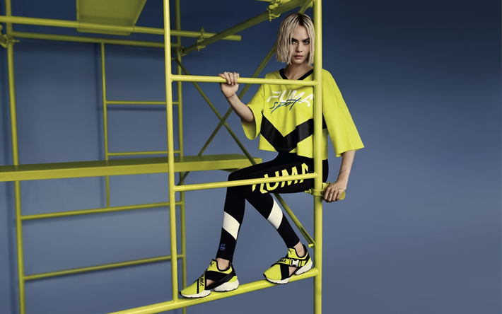 Cara Delevingne, photoshoot, Puma, British top model, yellow sports suit, fashion model, Cara Jocelyn Delevingne