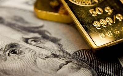 gold bullion, dollars, money concepts, finance, macro, banknotes, gold and foreign currency reserves