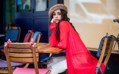 4k, camila cabello, cafe, superstars, cuban singer, karla camila cabello estrabao, photoshoot, brünett