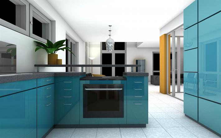 Herunterladen hintergrundbild stilvolle küche interieur, blaue küche ...