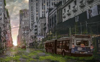 New York, 4k, apocalypse, world after people, USA, city after people, fantasy, art work, rusty bus