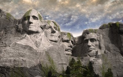 Mount Rushmore National Memorial, 4k, monde après les gens, l'art, l'apocalypse, œuvre d'art, le granit visage, Rushmore, etats-unis, George Washington, Thomas Jefferson, Theodore Roosevelt, Abraham Lincoln