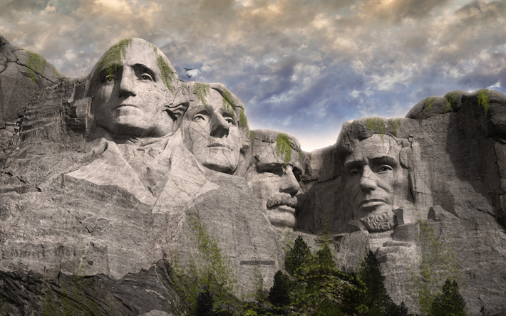 Mount Rushmore National Memorial, 4k, world after people, art, apocalypse, art work, granite face, Rushmore, USA, George Washington, Thomas Jefferson, Theodore Roosevelt, Abraham Lincoln