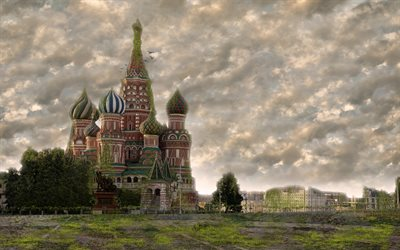 Saint Basils Cathedral, world after people, apocalypse, 4k, art work, fantasy, Red Square, Moscow, Russia