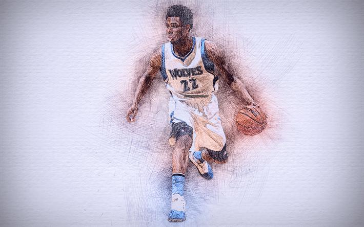 Download Wallpapers Andrew Wiggins 4k Artwork Basketball Stars